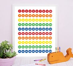 Numbers chart for kids. Numbers chart for learning don't have to be an eye sore anymore. This fun and colorful numbers chart for kids digital print can be a great educational tool for early learners still learning to recognize their numbers or improve their counting and math skills. #numbersprint #kidsdecor #kidschart #educationalart #kidsprint #mathskills #education #educationforkids #learningtoolsforkids