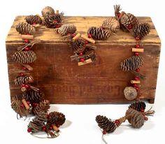 Cinnamon Stick Garland | Pine Cones, Twigs, Cinnamon Sticks with Red Berries Garland ...