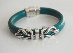 Teal Green Licorice Leather BraceletBangle by ferozasjewelry