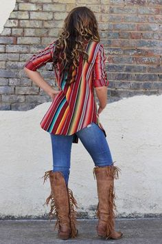 - Serape Tunic - Cuffable Sleeves - Shirttail Hem - Antiqued Silver Scroll Buttons - Made in America - Model is 5'11, size 9/10, wearing the Small as a shirt. Most ladies with less height can wear it
