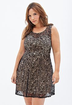 Lace Overlay Pleated Dress from Forever21+ less than $30...I want this dress!