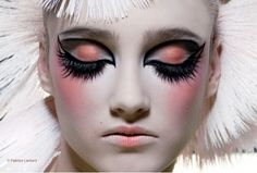 orange lipstick, geisha lips, big lashes, disco lashes, orange eyeshadow, pink blush, 80s, 70s, editorial makeup, white hair, audrey kitching
