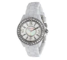 {@Judith Ripka Ceramic and Stainless Steel Diamonique Bracelet Watch}