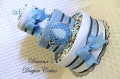 Baby Diaper Cake Blue and Gray Elephants Shower Gift or Centerpiec by Diannasdiapercakes