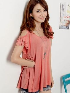 Summer Fashion Pure Color Ruffle Sleeve Off-shoulder Cotton T-shirt