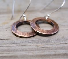 $7 Starting Bid: Warm Hammered Copper and Sterling Silver #Earrings