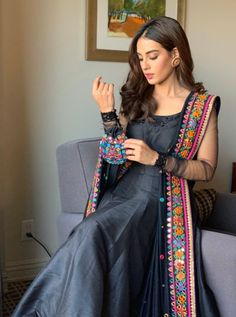 Iqra Aziz Dazzles In A Black Anarkali Dress - The Pakistan Post Eid Dresses, Indian Gowns Dresses, Pakistani Bridal Dresses, Pakistani Dress Design, Party Wear Dresses, Pakistani Outfits, Indian Outfits, Fashion Dresses, Black Anarkali