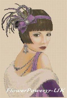 Cross stitch chart Art Deco Lady 2 - FlowerPower37-UK   eBay