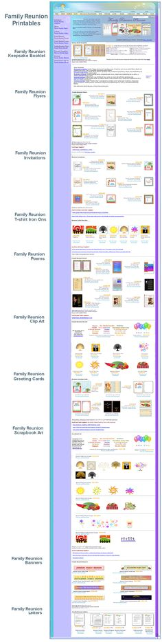 Family Reunion Printable - scrapbook, poems, keepsake booklet, clip art, banners, flyers, invitations, iron-on patterns, letters...