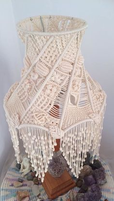 macrame over old wire lampshade