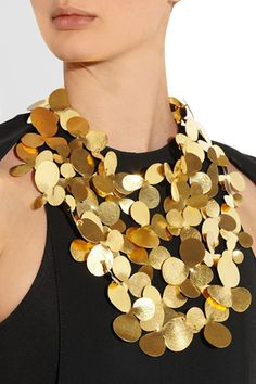 Hervé Van der Straeten Hammered Gold Plated Bib Necklace