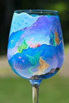 Another mermaid wine glass! On Etsy!
