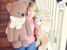 Crochet PDF pattern by IraRott for making an adorable giant teddy bear using Bernat Blanket yarn