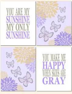 You Are My Sunshine in Purple and Tan, Nursery Art Baby Nursery Girl Kids Wall Art Lavender by vtdesigns, $40.00