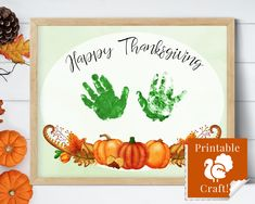 Thanksgiving Card from Kids, Handprint Craft, Personalized Keepsake Gift, 8x10 Wall Art by HolaSunshineDesigns on Etsy Babys First Thanksgiving, Thanksgiving Cards, Floral Printables, Printable Crafts, Simply Stamps, Baby Footprints, Stamp Pad, Grandparents Day, Etsy App