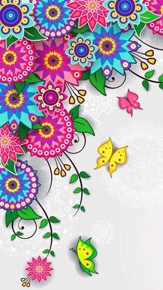 Floral Pattern Wallpaper - Trend Topic For You 2020 Mandala Wallpaper, Pink Wallpaper Backgrounds, Butterfly Wallpaper, Wallpaper S, Cute Wallpapers, Iphone Backgrounds, Wallpaper Ideas, Screen Wallpaper, Iphone Wallpapers
