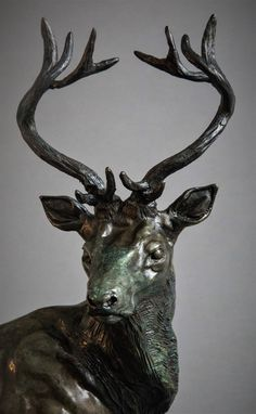 by Adrian Flanagan titled: 'Red Stag (Small Bronze Standing statue statuette)'. Deer Garden, Deer Statues, Stag Deer, Animal Sculptures, Bronze Sculpture, Figurative Art, Saatchi Art, Moose Art, Garden Ornaments