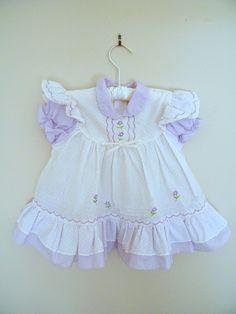 Vintage Baby Dress Purple with Ruffles 12 by ThriftyVintageKitten, $15.00