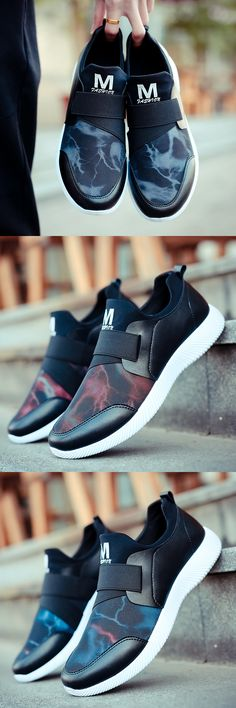 Men Mesh Fabric Breathable Elastic Panels Slip On Light Casual Sneakers