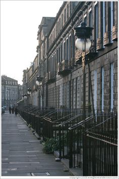 Heriot Row, approaching dusk. New Town Edinburgh  Danus' parents lived on this street in one of the large houses.