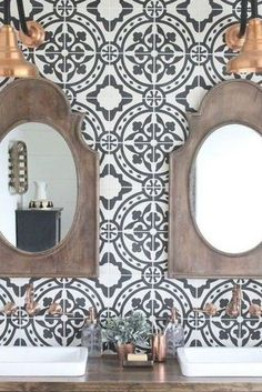 Moraccan Tile, Moroccan Tile Bathroom, Moroccan Tile Backsplash, Cement Tile Backsplash, Cement Tiles, Grey Wallpaper Accent Wall, Tile Accent Wall, White Wall Tiles, Black And White Wallpaper