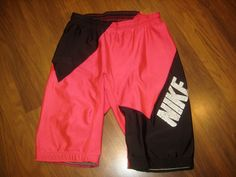 Vtg 80s Nike Neon Pink Mens Large Spandex Cycling Lycra Athletic Tights Shorts L