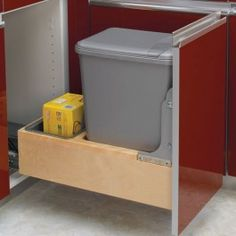Single 35 Qt. Rev-A-Motion Bottom Mount Wood Pullout Waste Container