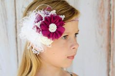 Child Headband Violet and White Flowers by FeatherRiverBoutique