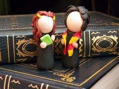 Harry Potter Tiny Ginny and Harry Polymer Clay Sculpture. $13.00, via Etsy.