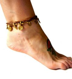 Anklets with Charms | Macrame Anklet with Brass Sun Charms - Brown