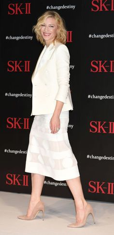 Cate Blanchett  What: Dolce & Gabbana  Where: SK-II Change Destiny Forum  Why: Blanchett is bringing the skirt suit back and proves it's chicer than ever. http://www.harpersbazaar.com/celebrity/red-carpet-dresses/g6747/best-dressed-celebrities-week-of-january-22/?mag=har