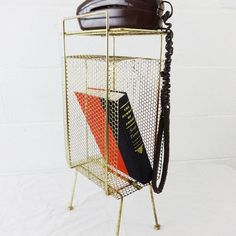 mid century small mesh phone table - gold