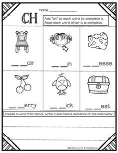 Ch Blends: Fill In The Blank by Kathryn's Kreations | Teachers Pay Teachers