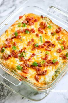 Loaded Cauliflower Casserole with Bacon and Broccoli Cauliflower Bacon Casserole, Cheesy Broccoli Casserole, Baked Potato Casserole, Loaded Cauliflower, Cauliflower Recipes, Cauliflower Bake, Paleo Casserole Recipes, Keto Casserole, Breakfast Casserole
