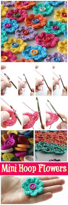 Mini Hoop Flowers Free Crochet Pattern - Crochet Flowers - 90+ FREE Crochet Flower Patterns - Page 4 of 18 - DIY & Crafts