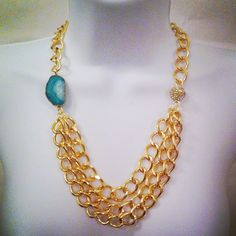 Chain link, Agate and Pave Bead necklace. $63.00, via Etsy.