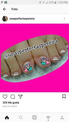 French Pedicure, Pedicure Nail Art, Toe Nail Art, Pretty Toes, Pretty Nails, Nail Polish Designs, Nail Designs, Pretty Pedicures, Summer Toe Nails