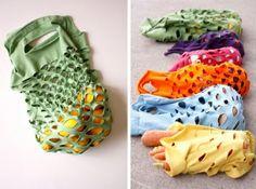 T-shirt Produce Bag.      Get all the instructions at http://deliacreates.blogspot.com/2011/05/greeneasy-knit-produce-bag.html