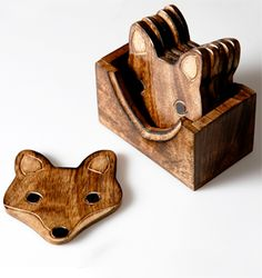 https://www.sassandbelle.co.uk/Wooden Fox Coaster Set of 6 pcs