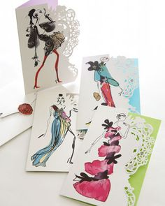"""""""Haute Couture"""" Notecards by Christian Lacroix at Horchow."""