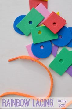 Try a rainbow shape lacing busy bag: an easy and fun way to practice colors and shapes!
