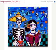 Day of the Dead Art Tile  Frida Kahlo Sugar by HeatherGallerArt, $20.00