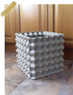 Live Love Laugh: DIY Egg Carton Recycling Bin. I want this in my scraproom for my scrap paper!