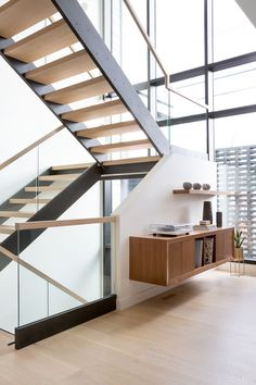 Open Riser, Steel Stringer Staircase, Elbow Park Modern, Nyla Free Designs, Calgary Interior Designer, DeJong Design Associates, Insignia Custom Homes, Phil Crozier Photography