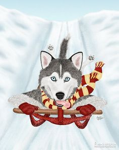 """Sled Dog"" artwork - Kiska bores easily with the 9 to 5 grind. He escapes from work regularly to play in the snow. He loves the thrill of a good sled ride!"
