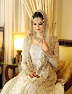 Elegant off white full sleeve bridal dress