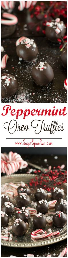 4-ingredient peppermint oreo truffles, would make a great Christmas gift -- www.SugarSpunRun.com