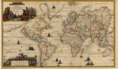 1728 map of the world - by Gerard van Keulen × : oldmaps Franz Marc, Peter Paul Rubens, Wassily Kandinsky, Gaming Wallpapers, Old Maps, 18th Century, Canvas, Vintage World Maps, Old Things