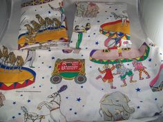 Ringling Bros Barnum Bailey Circus Twin 2 Flat 1 Fitted Sheet Set Single Bed VTG #Spring #Novelty