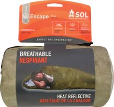 With SOL Escape™ Bivvy, condensation is no longer an issue, and you never again have to choose between staying dry and staying warm. The proprietary fabric lets moisture escape at the same time that it keeps rain, snow, and wind on the outside – all while reflecting body heat. Great ground cloth option that can extend bag range.